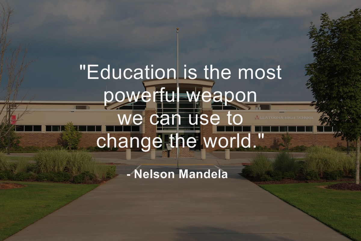 "education training quote - ""Education is the most powerful weapon we can use to change the world."""